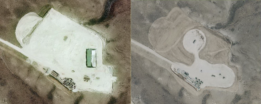 Aerial photos of a well site in the Pinedale Field. Left: Well site during drilling in 2009. Right: Same site in 2015 – the site contains 17 wells, its area has been reduced from 15.3 to 6.04 acres, and the reclaimed 9.26 acres are being revegetated.