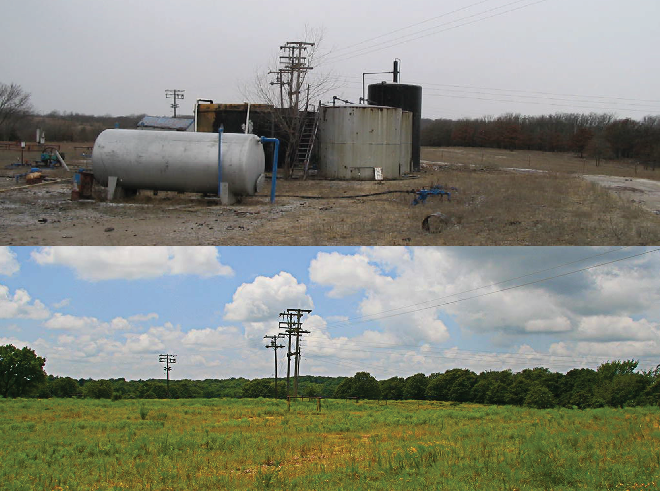 An abandoned well site in Oklahoma before (top) and after (bottom) being remediated.