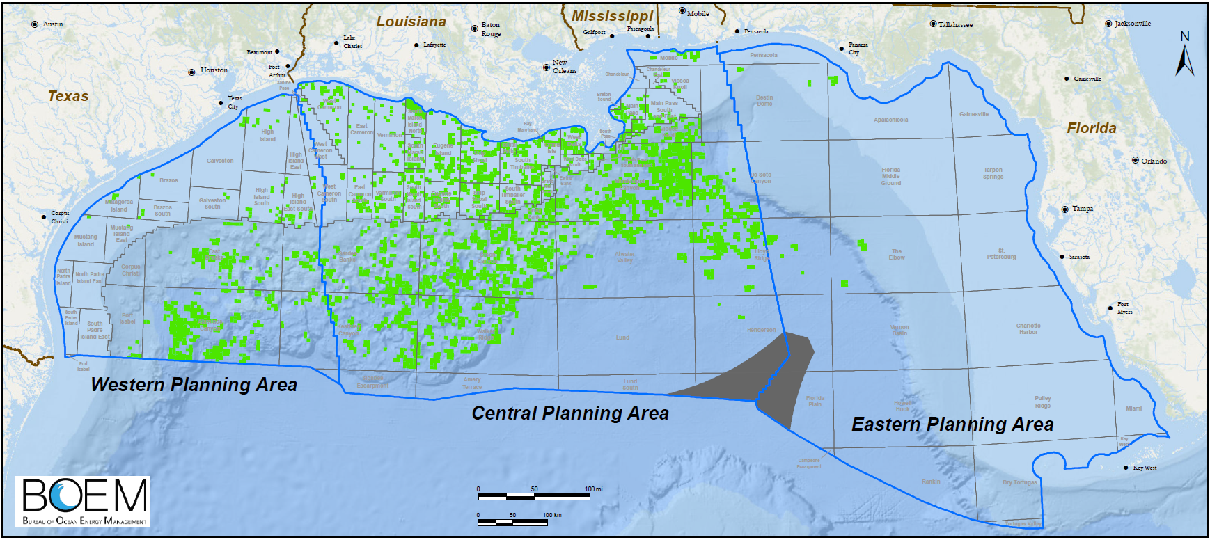 Planning areas, region blocks and active leases in the Gulf of Mexico as of February 1, 2018, as administered by the U.S. Bureau of Ocean Energy Management. There are several thousand leases in the Gulf of Mexico, covering almost 15 million acres