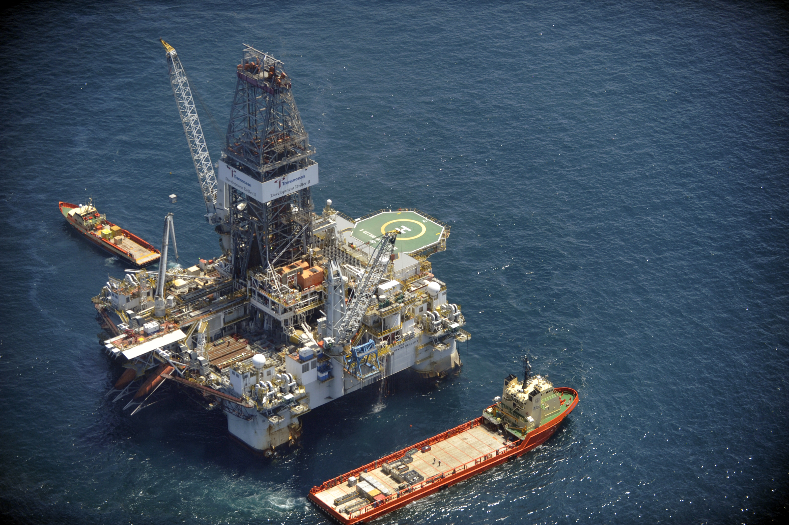 Transocean Development Driller drilling a relief well in the Gulf of Mexico to relieve the pressure on the Macondo well, 2010. This rig can drill to depths of 37,500 feet in as much as 7,500 feet of water.