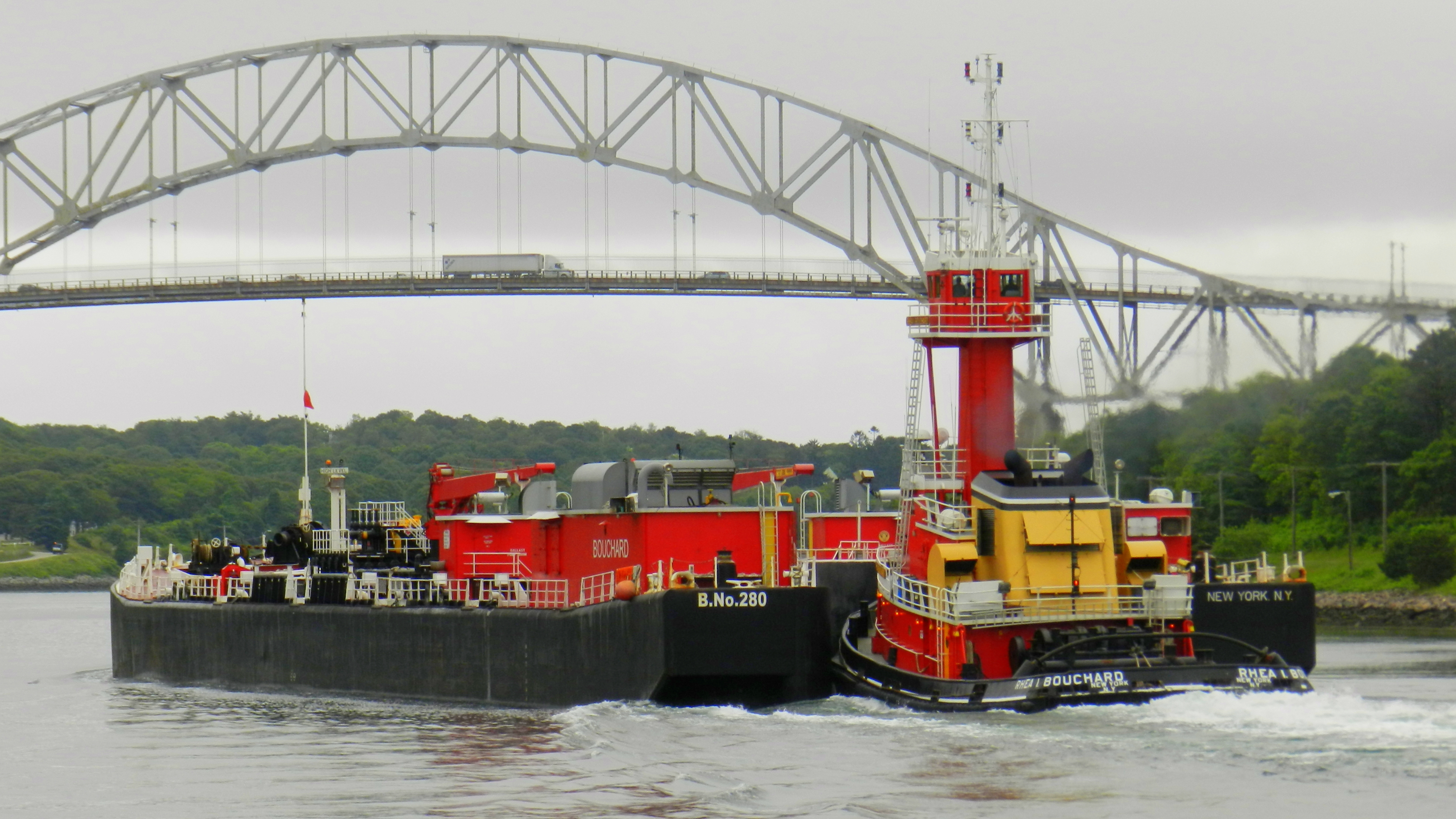 Oil barge at the Cape Cod Canal, 2011.