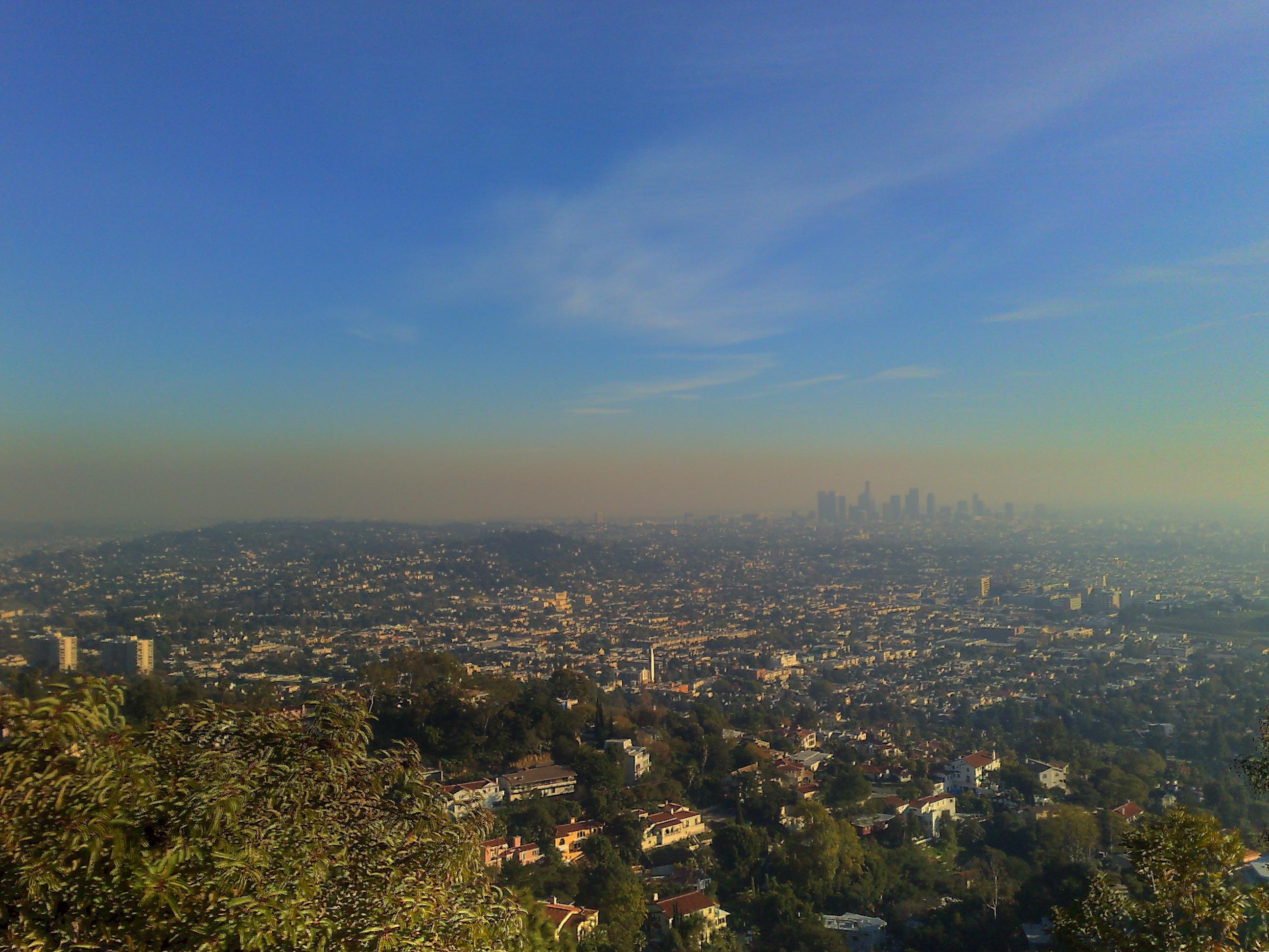 Smog visible as an orange haze over Los Angeles.