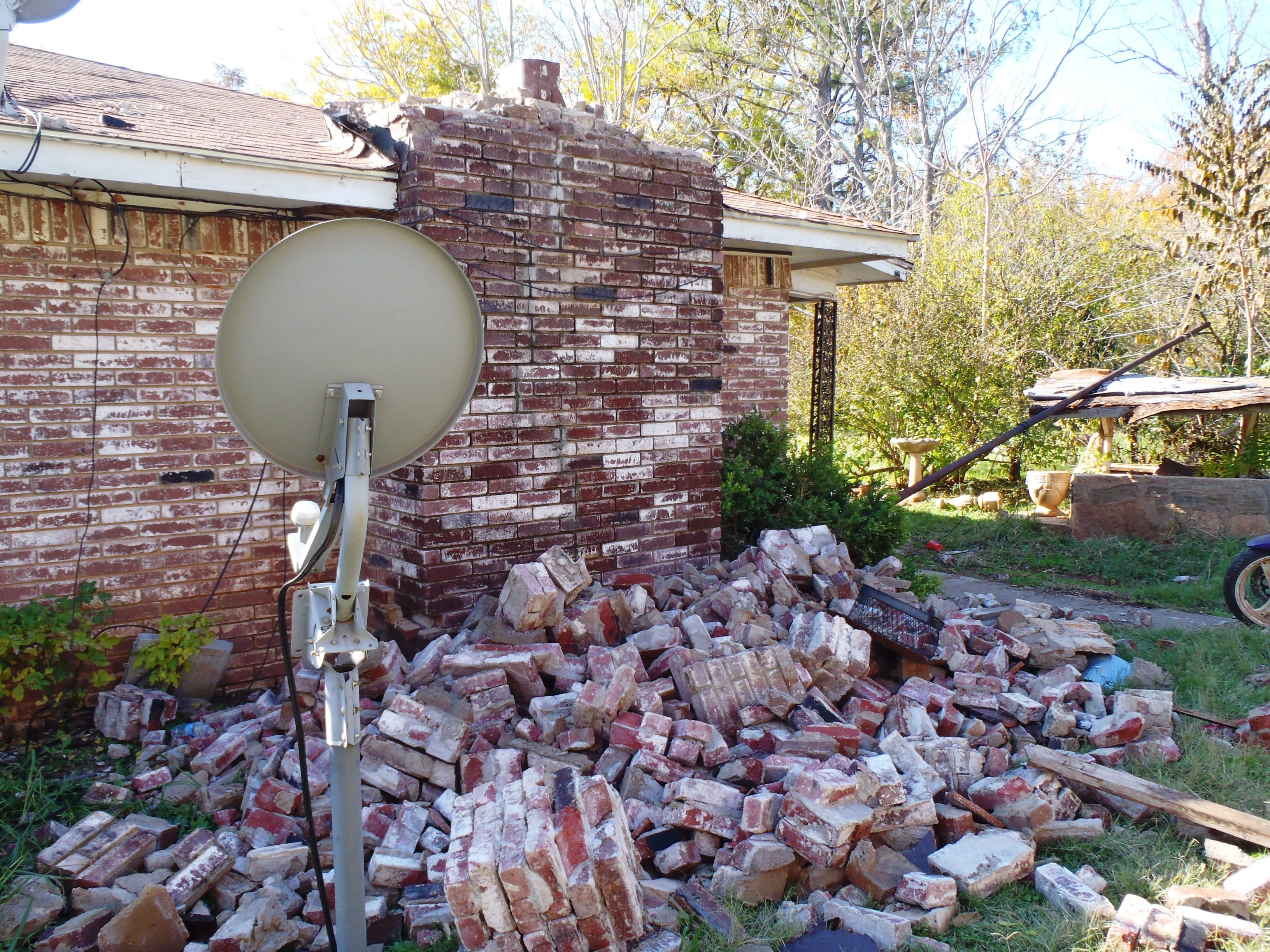 Damage caused by the magnitude 5.7 earthquake near Prague Oklahoma, November 6, 2011. Unreinforced stone and brick buildings (especially chimneys) are some of the most vulnerable structures in any earthquake.