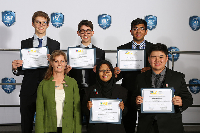 AGI award winners at Intel ISEF 2017. From top left: Elias Suvanto, Jean-Baptiste Flieller, Neerah Sakhrani, Azizah Dewi Suryaningsih, Jared J. K. Goodwin. Image Credit: Society for Science and the Public