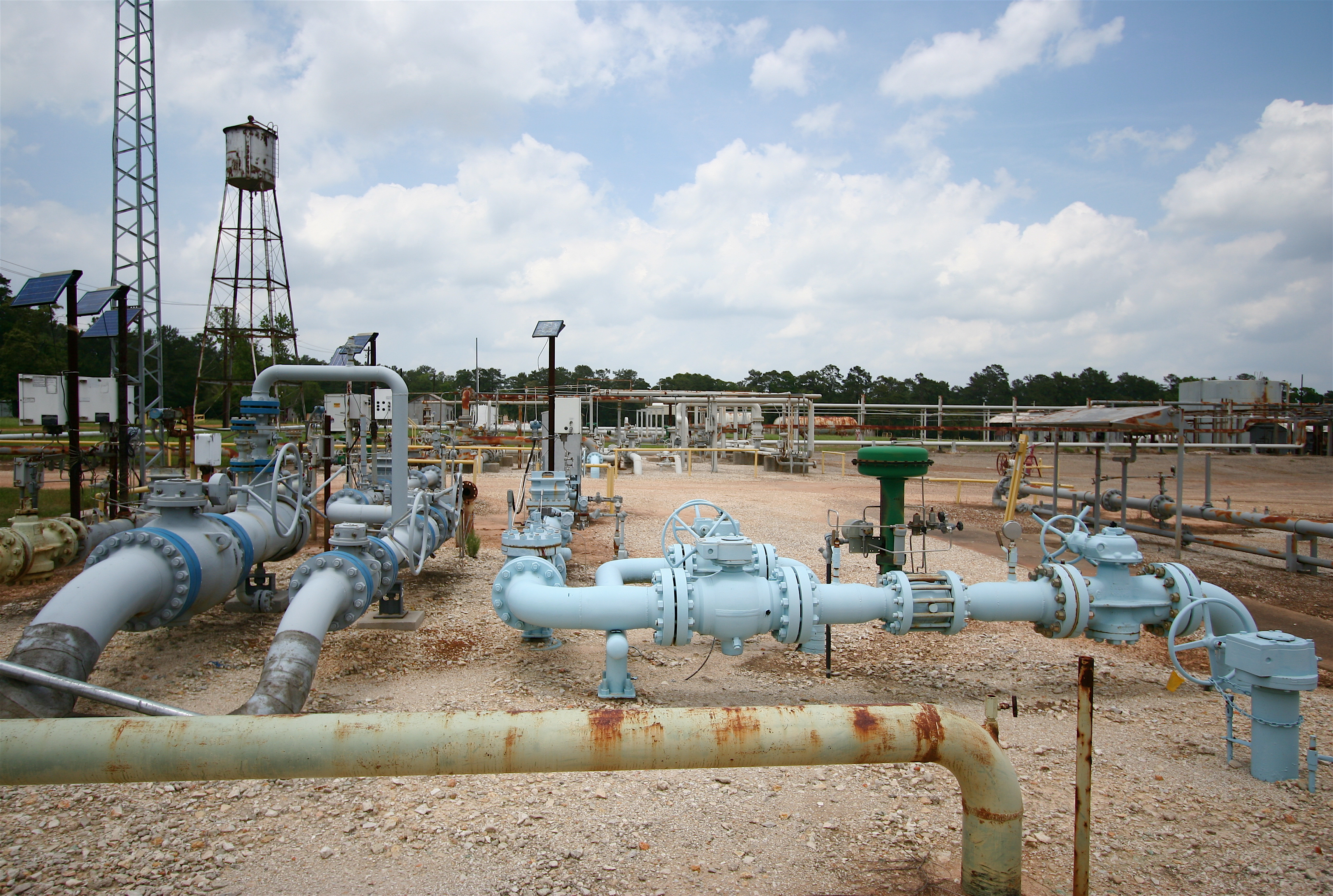 Natural gas infrastructure includes a large number of valves and connectors, such as at this gas processing facility in Montgomery County, Texas. Components such as these may be sources of gas leaks.