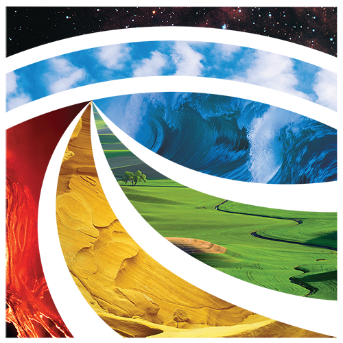 AGI detailed Glyph logo showing environments that the colors represent. AGI/Brenna Tobler; lava: Shutterstock.com/RZ design; Aztec sandstone: Michael Collier, ESW Image Bank; farm: Shutterstock.com/Charles L. Bolin; waves: Digital Vision; clouds: Digital Stock; space: Digital Vision.