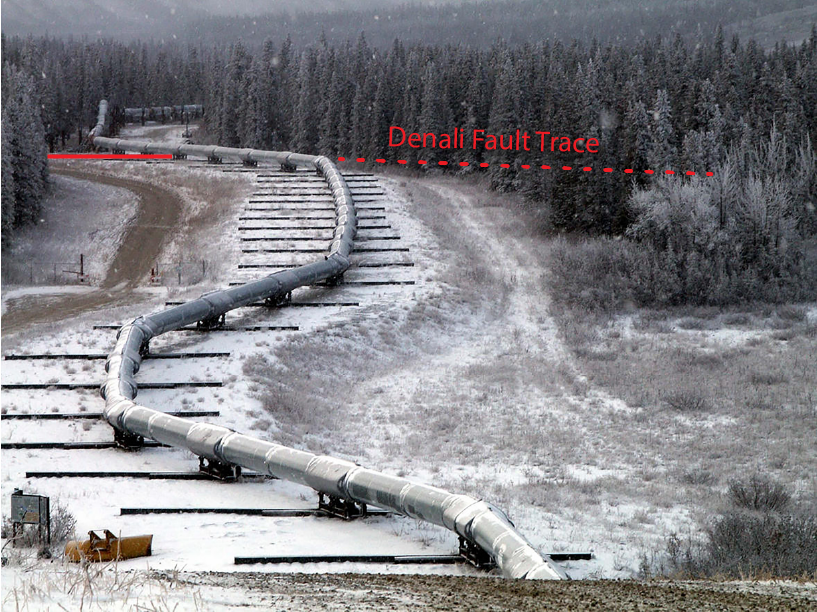 The Trans-Alaska Pipeline after the 2002 earthquake on the Denali fault. The fault rupture occured between the second and third beams. Image credit: Tim Dawson, U.S. Geological Survey (Public Domain)