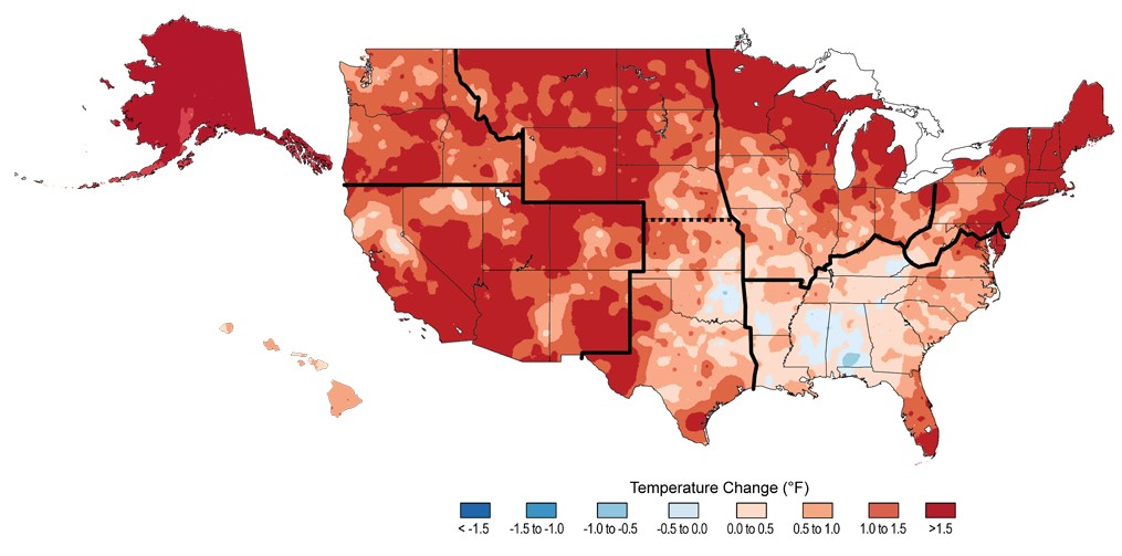Observed changes in average surface temperature across the United States (Alaska and Hawaii not to scale). Reds indicate warming, blues indicate cooling. Image Credit: NOAA NCDC/ Cooperative Institute for Climate and Satellites - NC