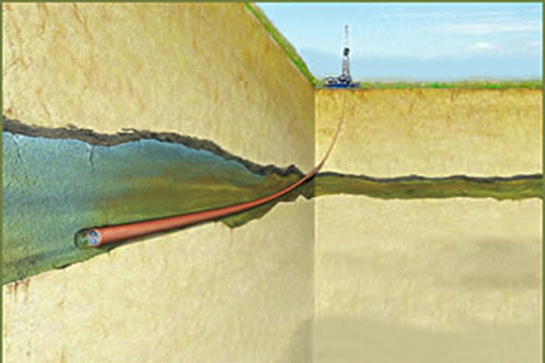 Illustration of the Frio Pilot carbon sequestration test; carbon dioxide compressed to a liquid will be pumped into a brine-saturated aquifer in the Frio Formation, a mile beneath the surface. Image Credit: Lawrence Berkeley National Laboratory
