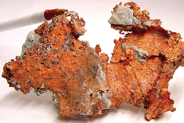 A copper sample. (Oxidation coating has been removed). Image Credit: USGS
