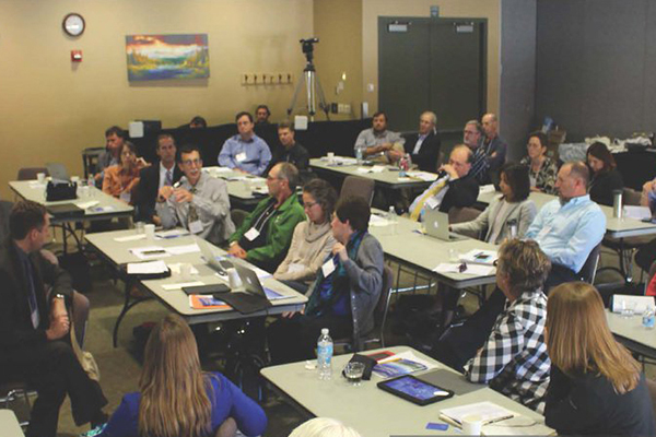 Forum participants discussing lessons learned and best practices for managing groundwater resources at the 2016 Critical Issues Forum: Addressing Changes in Regional Groundwater Resources: Lessons from the High Plains Aquifer. (Image credit: AGI)