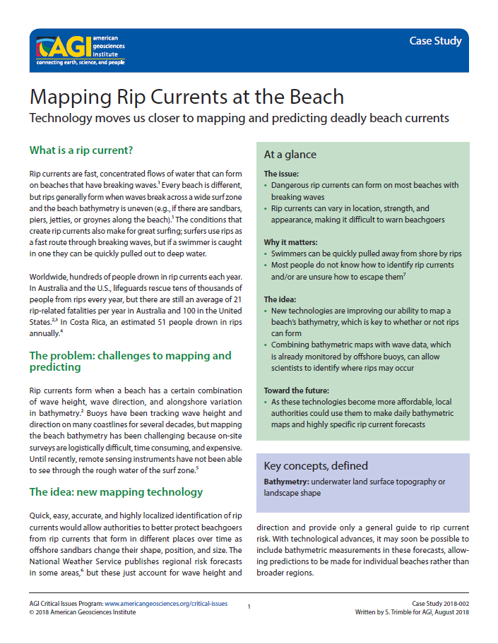 Mapping Rip Currents at the Beach | American Geosciences Insute on