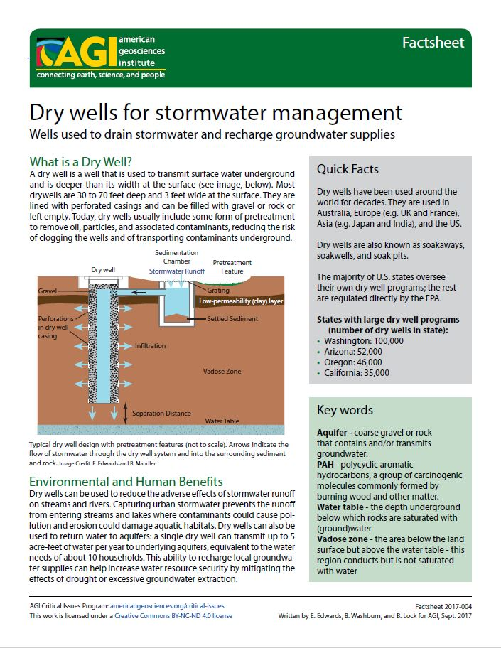 Dry wells for stormwater management | American Geosciences
