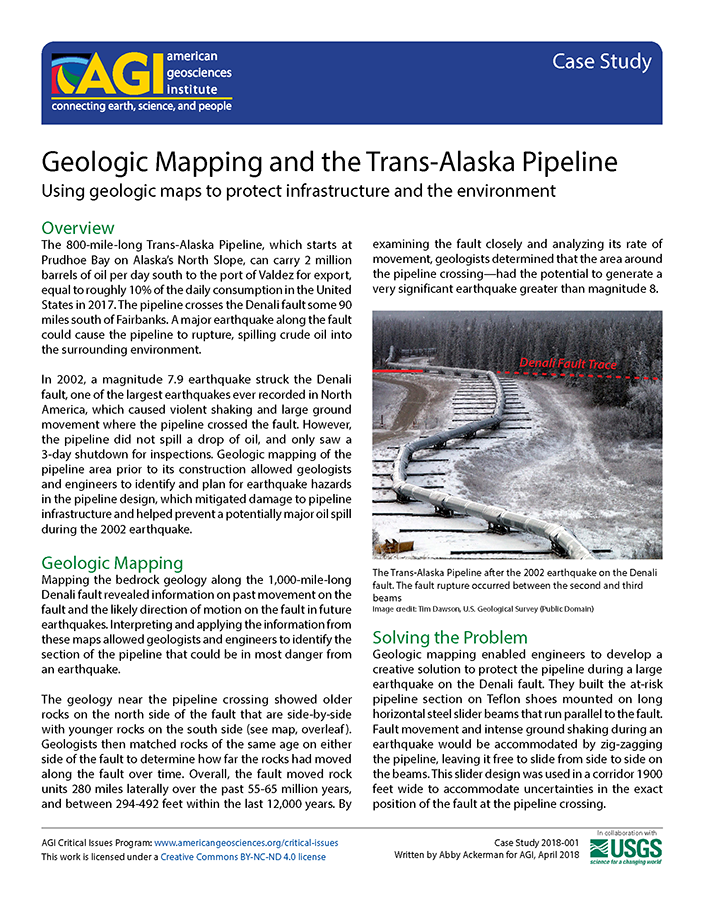 Cover of AGI Case Study 2018-001-Geologic Mapping and the Trans-Alaska Pipeline