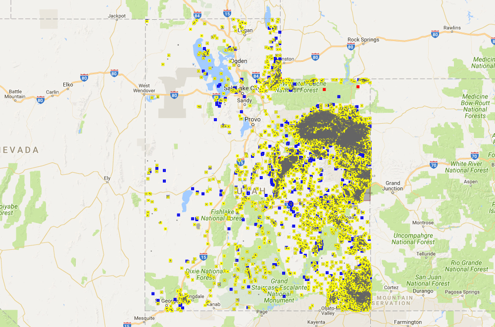 screens of the utah division of oil gas and mining s interactive map of oil and