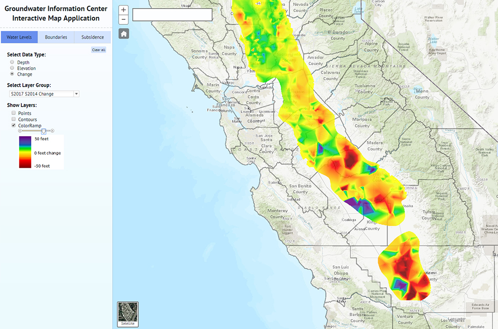 screens of map showing groundwater level changes in california