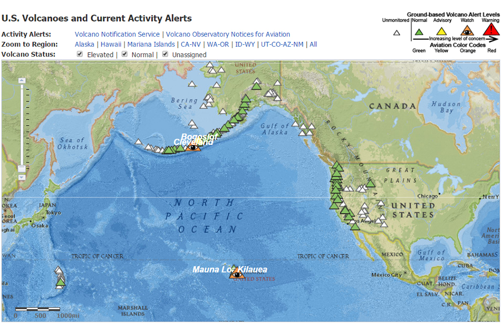 Interactive map of volcanoes and current volcanic activity alerts