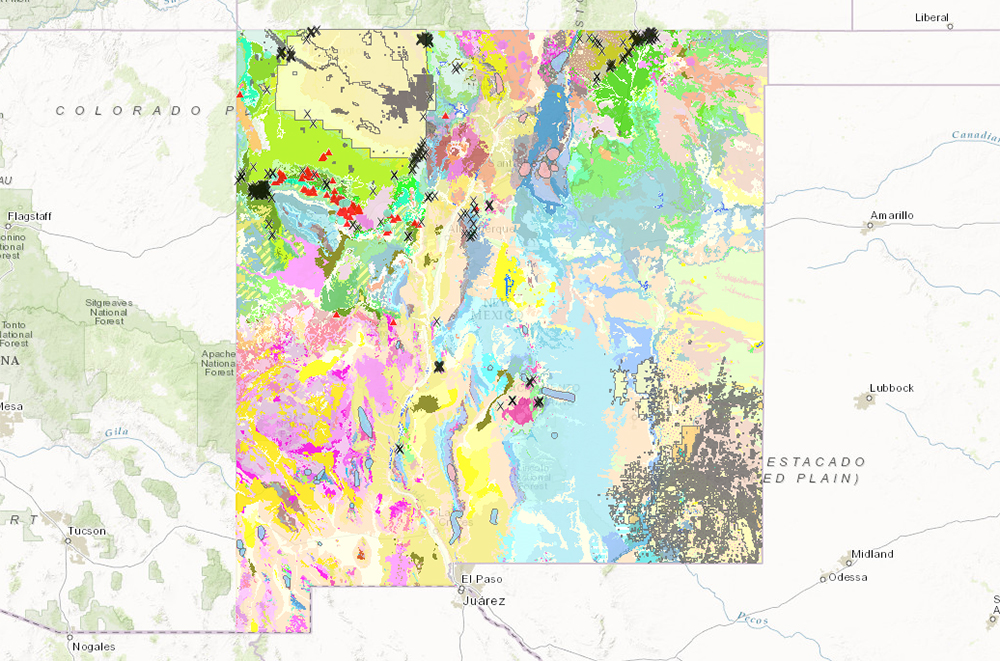 screenshot of the new mexico bureau of geology and mineral resources interactive map of new