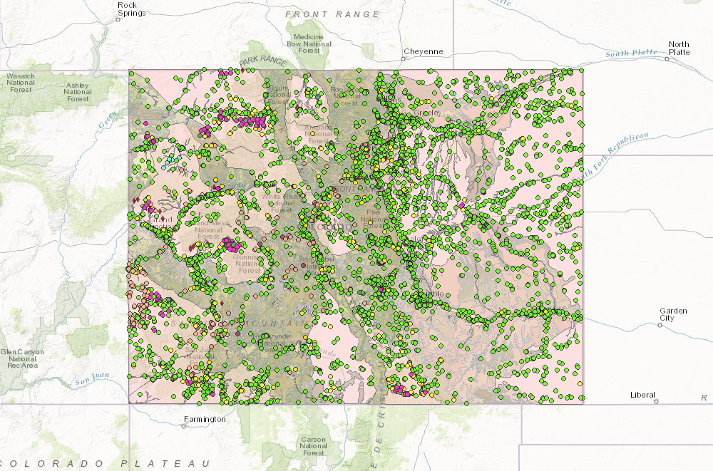 Colorado Gold Mines Map Interactive map of mines in Colorado   American Geosciences Institute