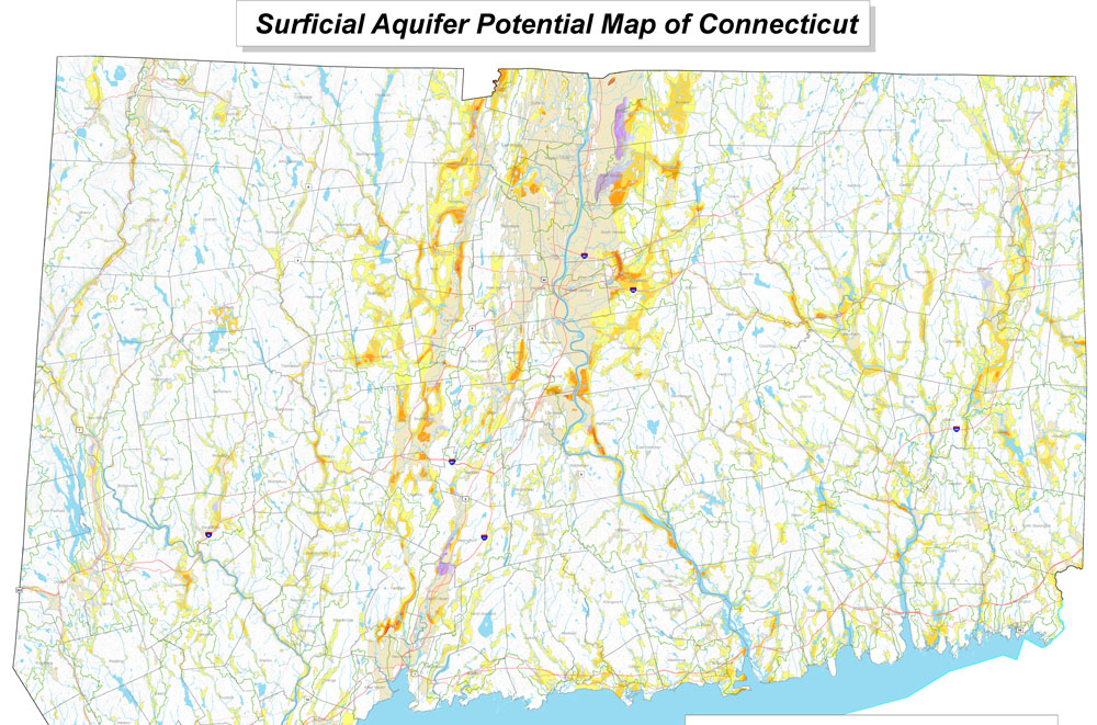 Map of Surficial Aquifer Potential in Connecticut  American