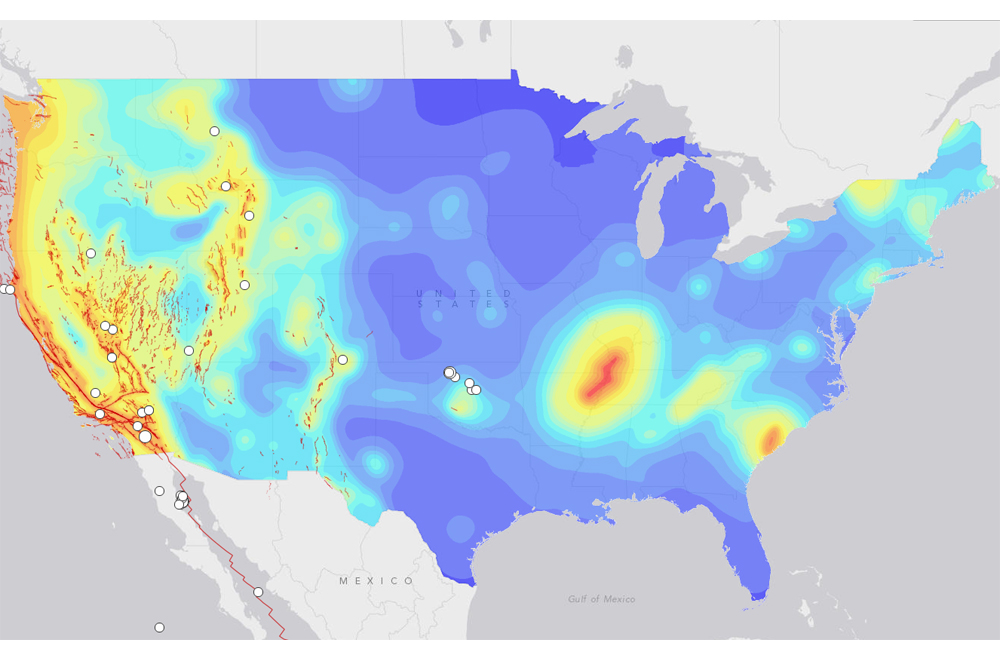 Map of earthquake probabilities across the United States