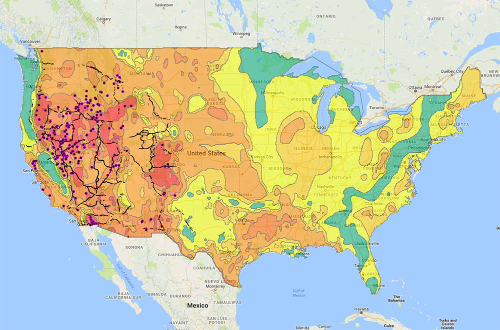 Geothermal Map Of Us Interactive map of geothermal resources in the United States