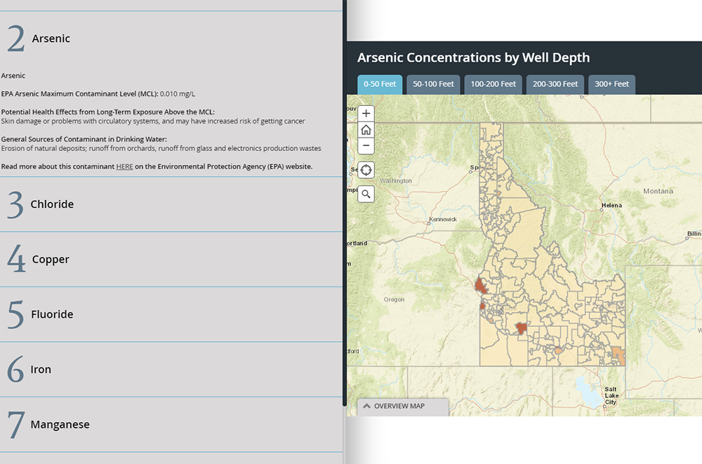 Interactive map of groundwater quality in Idaho American