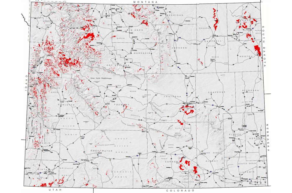 Map Of Landslides In Wyoming American Geosciences Institute - Map of wy