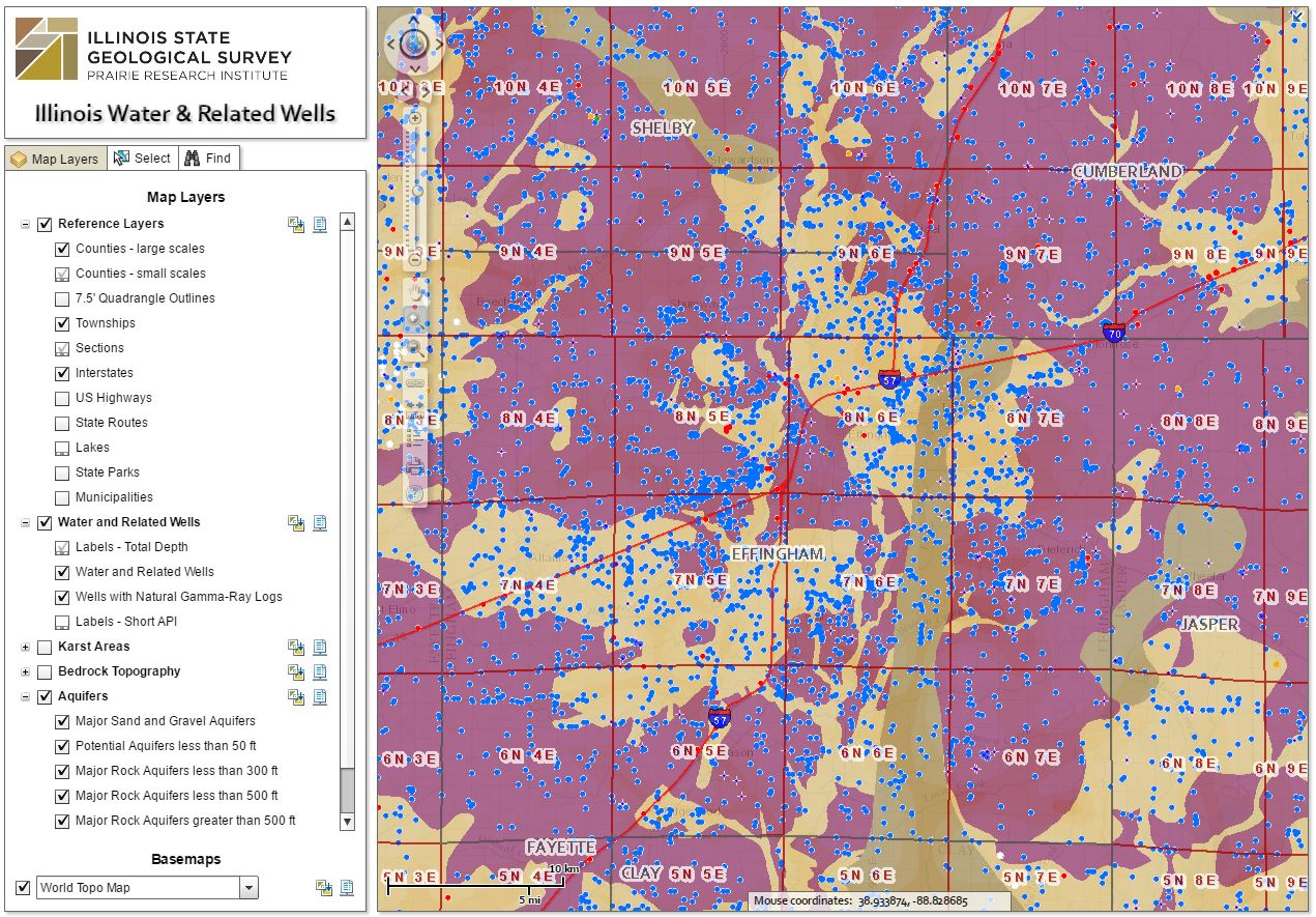 Interactive map of water wells in Illinois American Geosciences