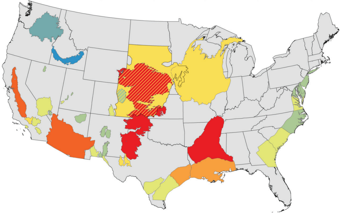 Total groundwater depletions (in cubic km) for major aquifers in the contiguous U.S. from 1900-2008. Red 150-400; dark orange 50-150; light orange 25-50; dark yellow 10-25; light yellow 3-10; green 0-3; blues indicate net recharge. Image Credit: USGS