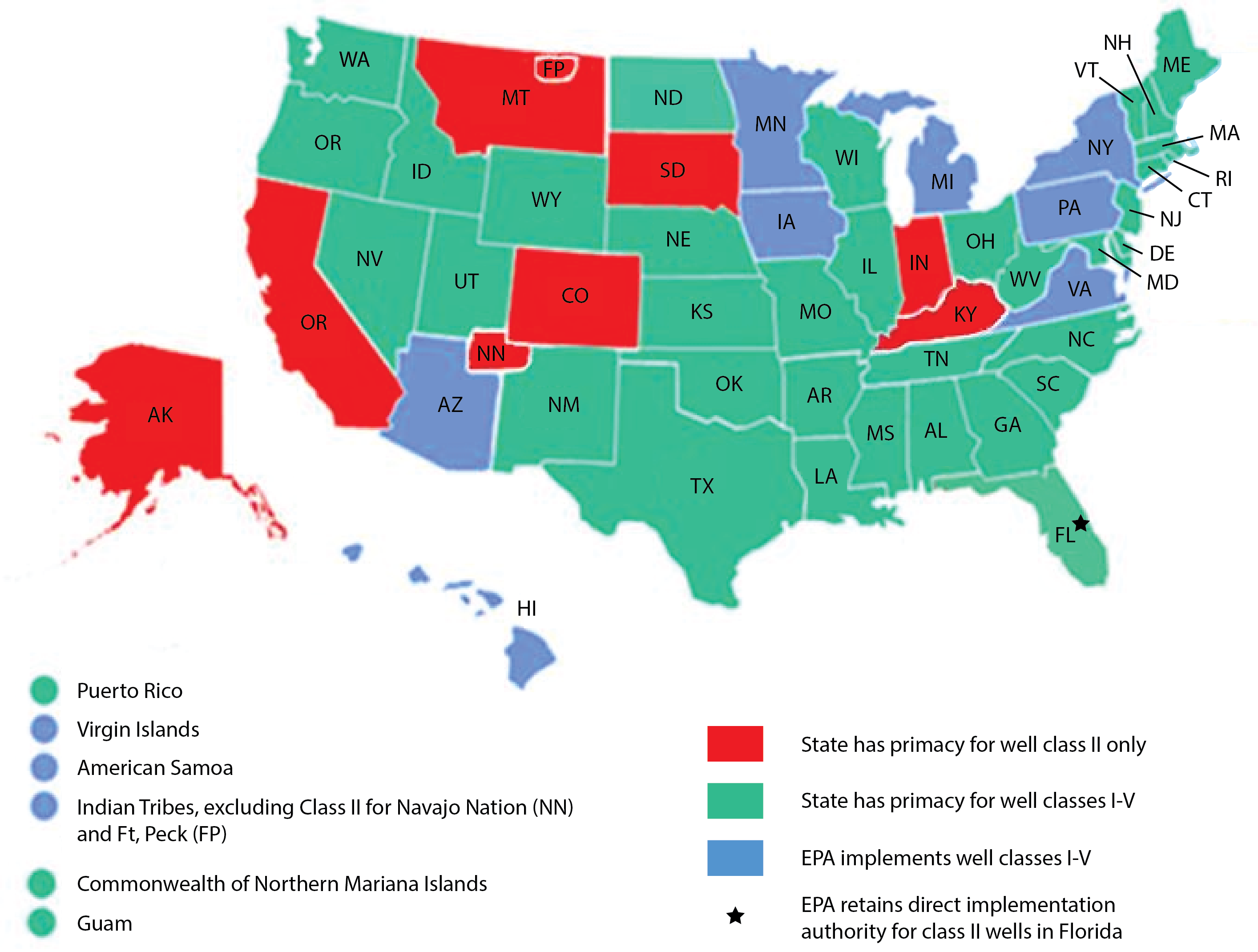 Map Of States Territories And Tribes With Primacy Over Their Underground Injection Control Programs