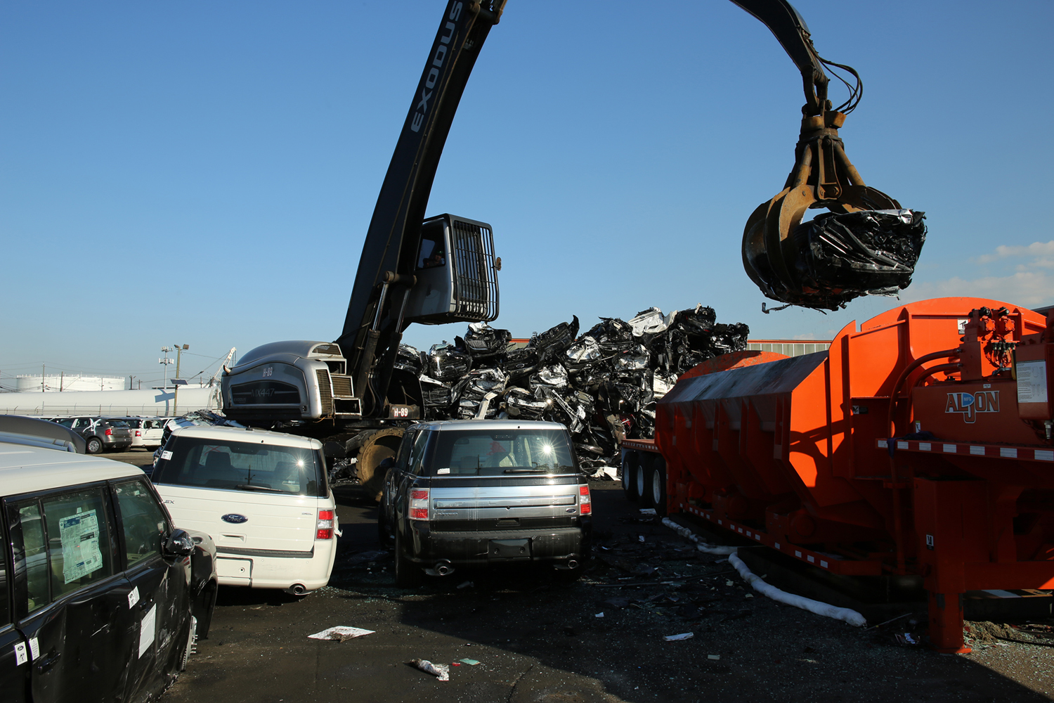 Photo of a car recycler. 85% of all used automobiles are recycled, providing large quantities of metals and other materials.