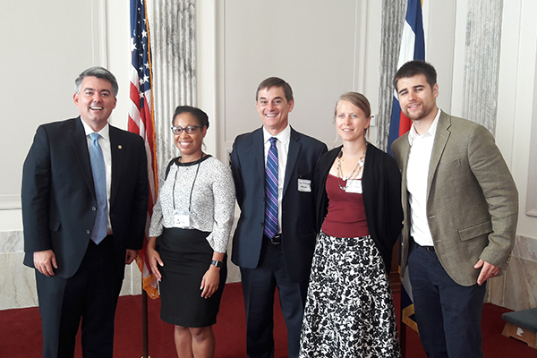 GEO-CVD 2016 participants meeting with Senator Cory Gardner from Colorado. (from left) Senator Cory Gardner(R-Colo.); Sparkle Malone of the U.S. Forest Service; Dave Ellerbroek of AECOM; Kendra Johnson and Rob Anthony (Image credit: AGI)