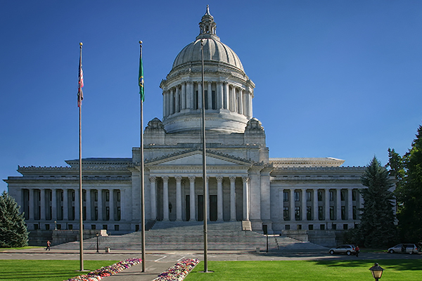 The Washington State Capitol Legislative Building in Olympia, Washington.