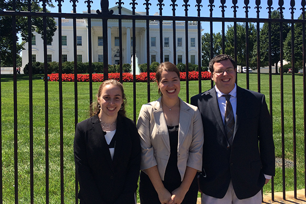 Geoscience Policy summer 2014 interns enjoy a trip to the White House. (From left to right, Eliana Perlmutter, Lily Strelich, Zachary Schagrin) (Image credit: AGI)
