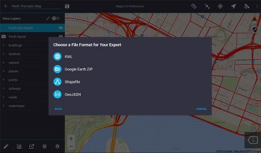 Import and export popular GIS formats such as Shapefiles and KML/KMZ