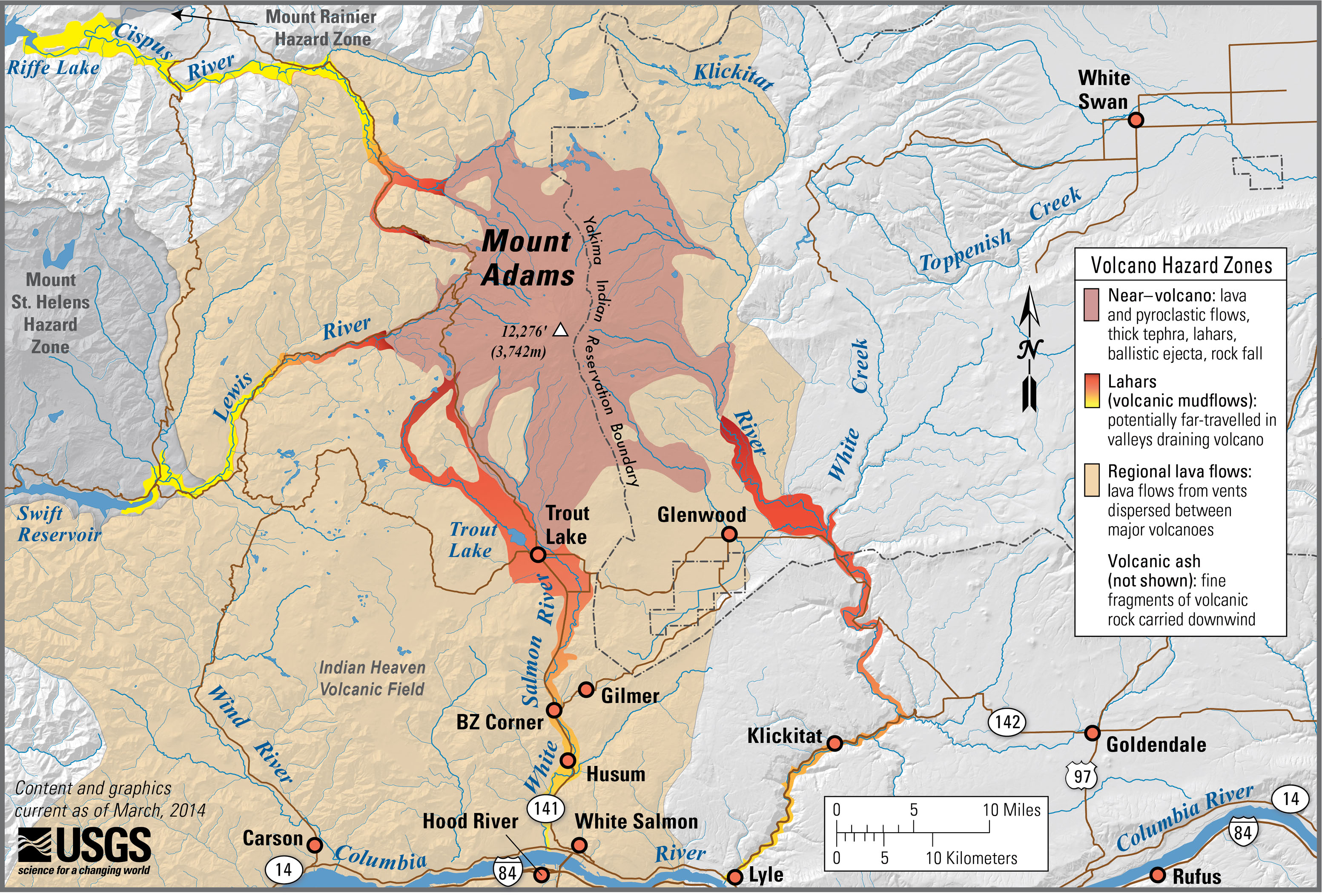 Volcanic hazard map of Mt. Adams, Washington. Image credit: Lisa Faust, U.S. Geological Survey