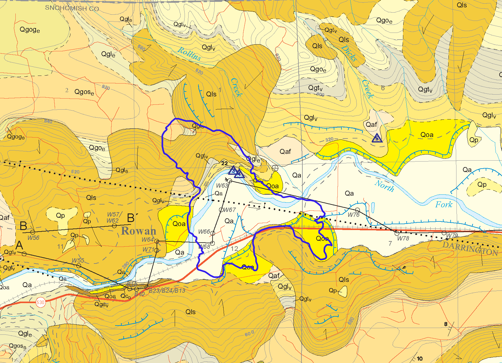 """Geologic map of the region where the Oso landslide occurred. The blue outline indicates the extent of the area moved by the landslide. The darker orange areas on the map labelled """"Qls"""" are deposits from recent landslides."""