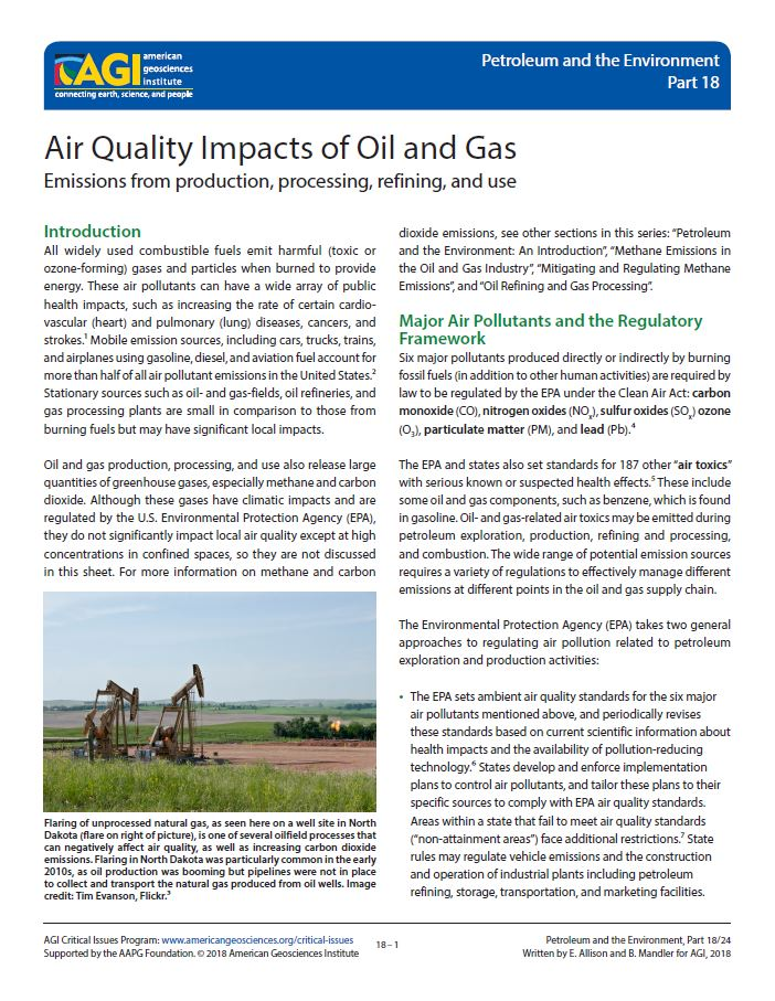 Air Quality Impacts of Oil and Gas | American Geosciences