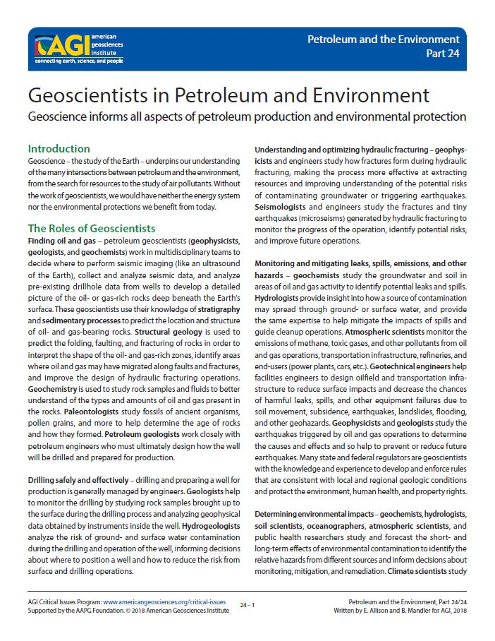 Geoscientists in Petroleum and Environment | American