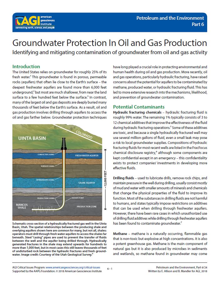groundwater protection in oil and gas production | american geosciences  institute
