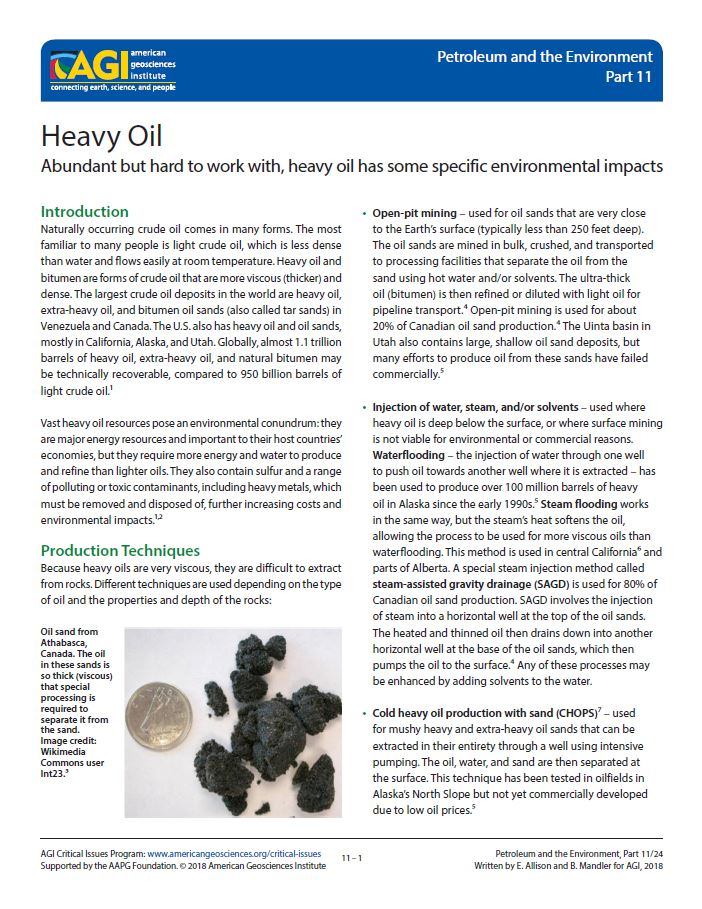 Heavy Oil | American Geosciences Institute