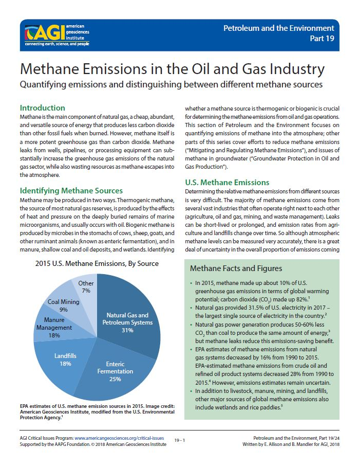 Methane Emissions In The Oil And Gas Industry American Geosciences