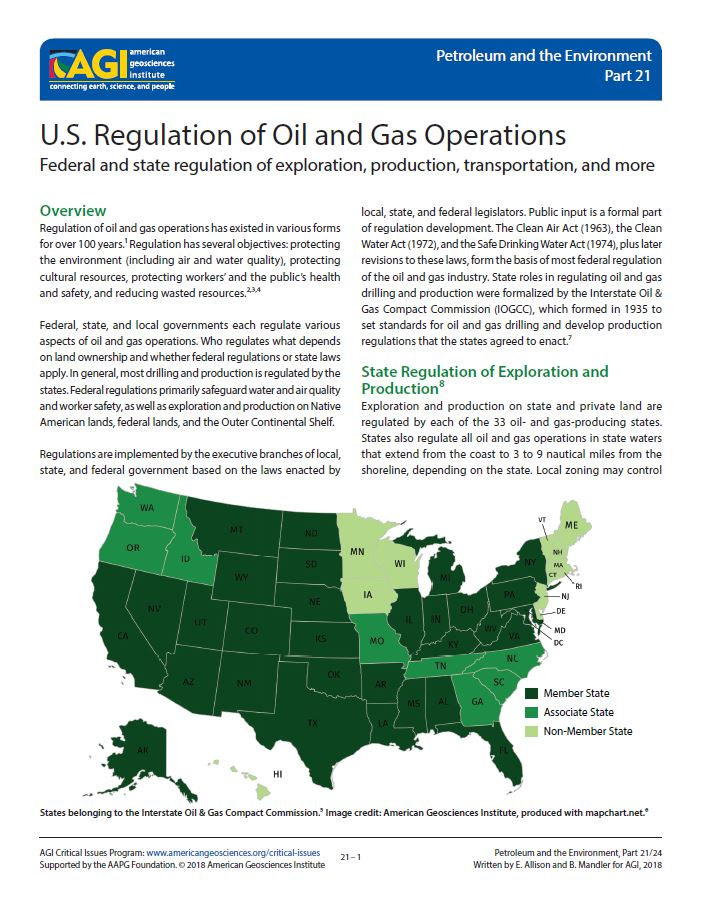 U S  Regulation of Oil and Gas Operations | American