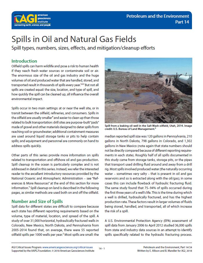 Cover of Spills in Oil and Natural Gas Fields