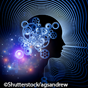 Silhouette of an idealized head with radiating profile outlines, cogs inside to show that there are new thoughts being constructed.