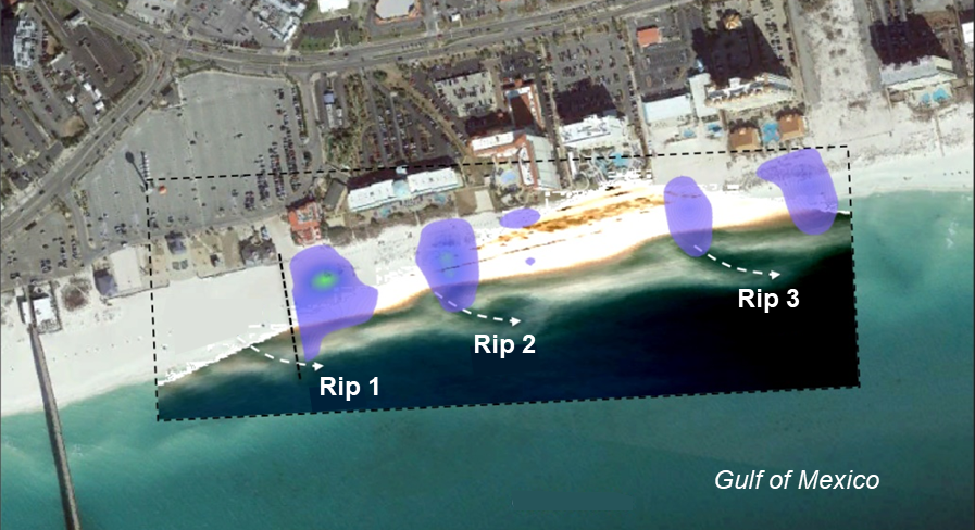 In Casino Beach East (part of Pensacola Beach, Florida), beach users cluster near popular access points and rip currents