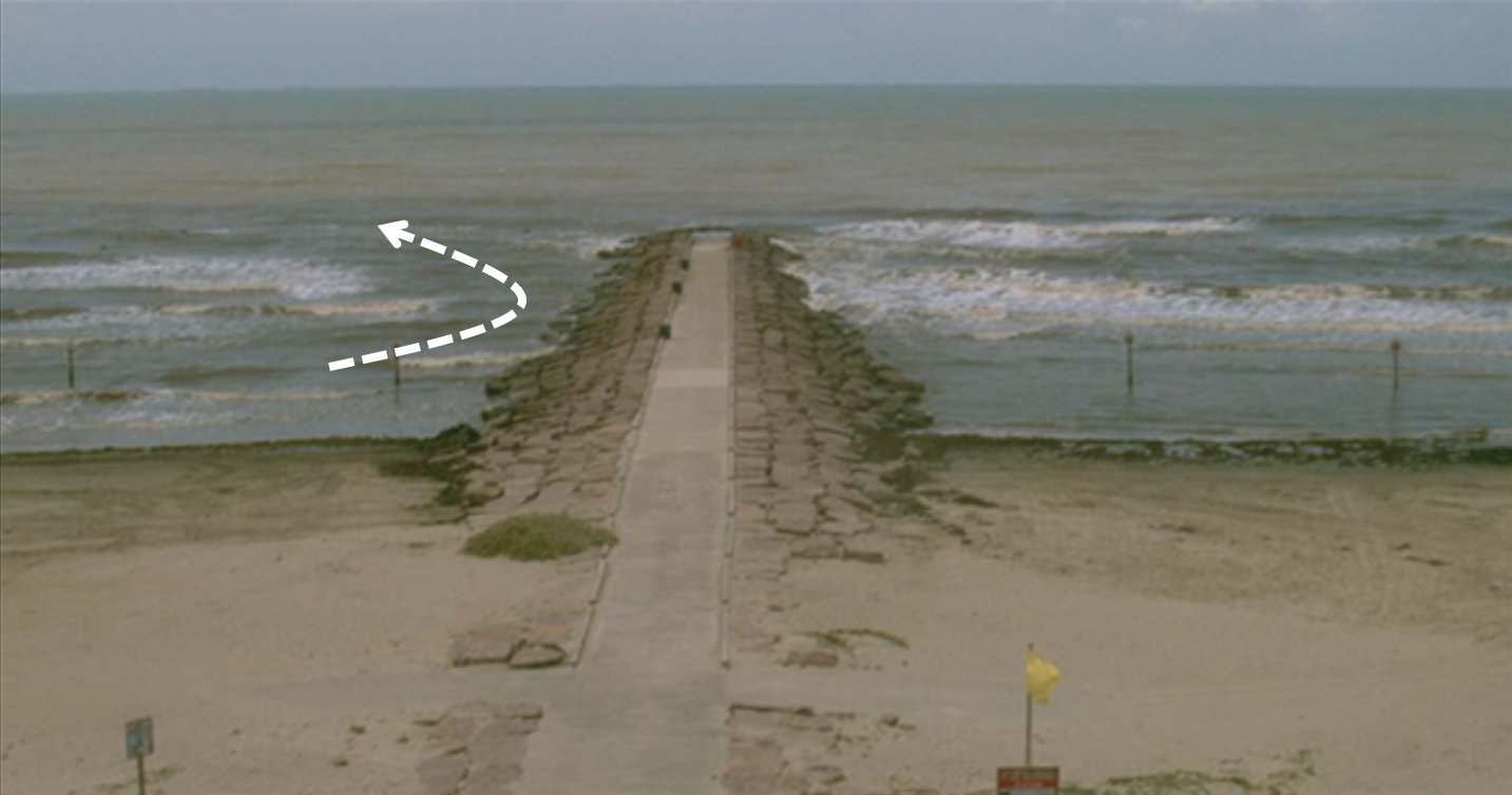 Galveston Island, Texas. Photograph shows a rip current on the left side of a groin. Beach access points are located at the center of each groin, and two signs mark the no swimming zone on each side.