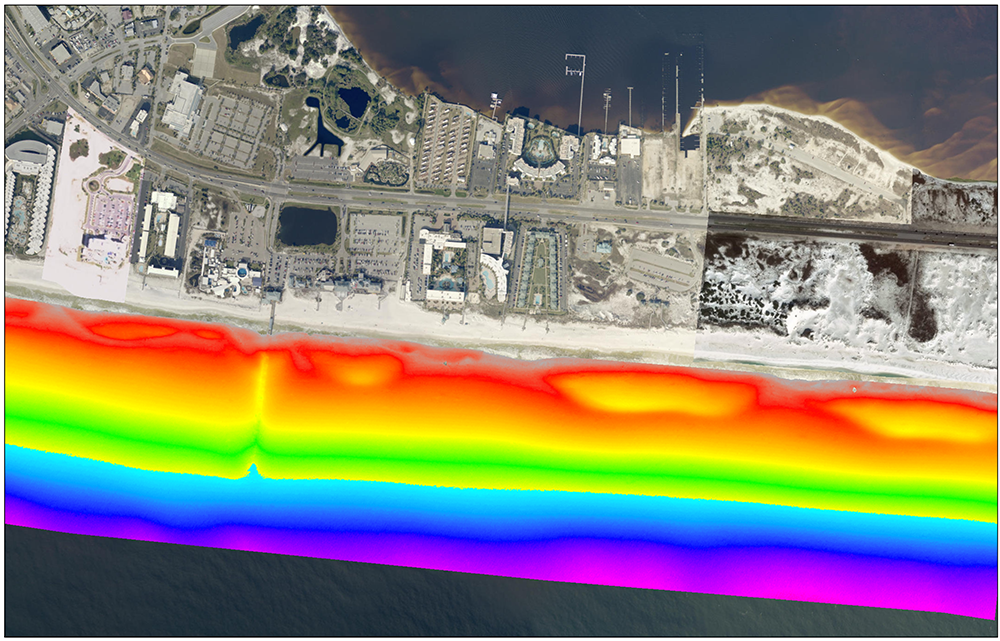 Lidar-based model of the variable beach morphology at Pensacola Beach, Florida.