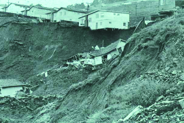 Fig.1. Home in Oakland, CA, destroyed by landslides in 1958. Source: J. Coe, USGS
